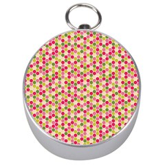 Pink Green Beehive Pattern Silver Compass