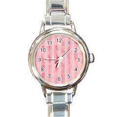 Pink Grunge Round Italian Charm Watch
