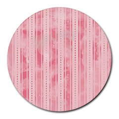 Pink Grunge 8  Mouse Pad (Round)