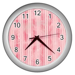 Pink Grunge Wall Clock (Silver)