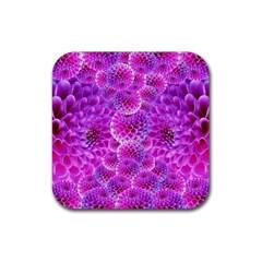 Purple Dahlias Drink Coasters 4 Pack (Square)