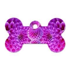 Purple Dahlias Dog Tag Bone (One Sided)