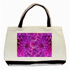 Purple Dahlias Twin-sided Black Tote Bag