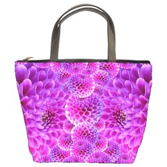 Purple Dahlias Bucket Handbag