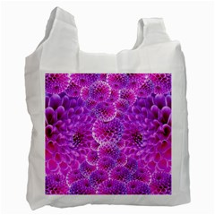 Purple Dahlias White Reusable Bag (Two Sides)