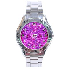 Purple Dahlias Stainless Steel Watch