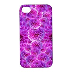 Purple Dahlias Apple Iphone 4/4s Hardshell Case With Stand