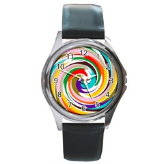 Galaxi Round Leather Watch (silver Rim)