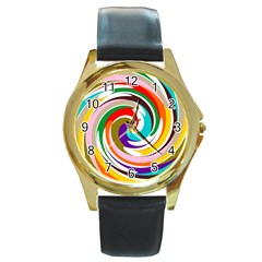 GALAXI Round Leather Watch (Gold Rim)