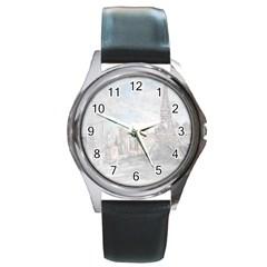 Eiffel Tower Paris Round Leather Watch (silver Rim)