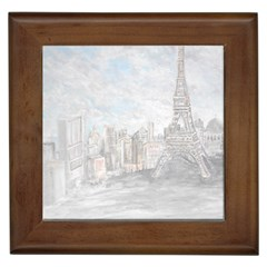 Eiffel Tower Paris Framed Ceramic Tile