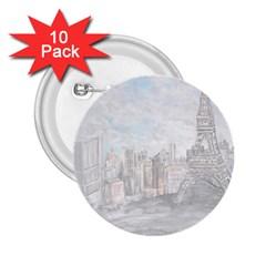Eiffel Tower Paris 2.25  Button (10 pack)