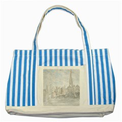 Eiffel Tower Paris Blue Striped Tote Bag
