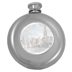 Eiffel Tower Paris Hip Flask (Round)
