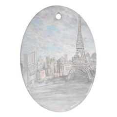 Eiffel Tower Paris Oval Ornament (two Sides)