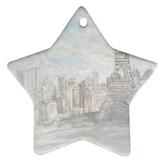 Eiffel Tower Paris Star Ornament (Two Sides)