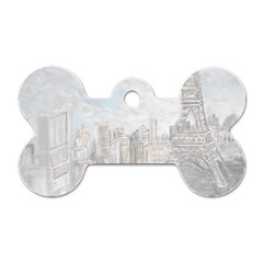 Eiffel Tower Paris Dog Tag Bone (one Sided)