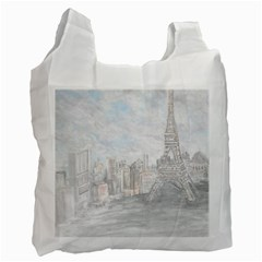 Eiffel Tower Paris White Reusable Bag (two Sides)
