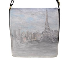 Eiffel Tower Paris Flap Closure Messenger Bag (Large)
