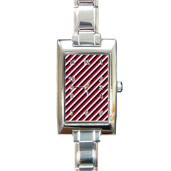 Diagonal Patriot Stripes Rectangular Italian Charm Watch