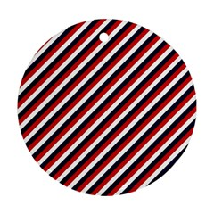 Diagonal Patriot Stripes Round Ornament