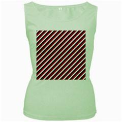 Diagonal Patriot Stripes Women s Tank Top (Green)