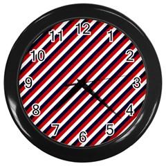 Diagonal Patriot Stripes Wall Clock (Black)