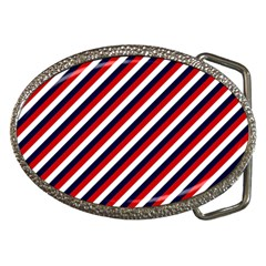 Diagonal Patriot Stripes Belt Buckle (oval)