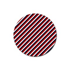 Diagonal Patriot Stripes Drink Coasters 4 Pack (round)
