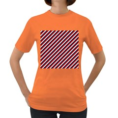 Diagonal Patriot Stripes Women s T Shirt (colored)
