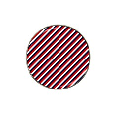 Diagonal Patriot Stripes Golf Ball Marker (for Hat Clip)