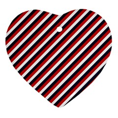 Diagonal Patriot Stripes Heart Ornament (Two Sides)