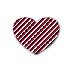 Diagonal Patriot Stripes Drink Coasters 4 Pack (Heart)