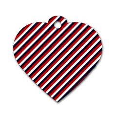 Diagonal Patriot Stripes Dog Tag Heart (Two Sided)