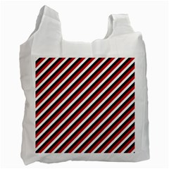 Diagonal Patriot Stripes White Reusable Bag (two Sides)
