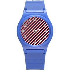 Diagonal Patriot Stripes Plastic Sport Watch (small)