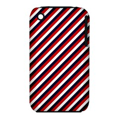 Diagonal Patriot Stripes Apple iPhone 3G/3GS Hardshell Case (PC+Silicone)