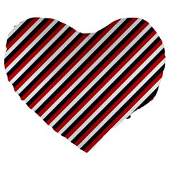 Diagonal Patriot Stripes 19  Premium Heart Shape Cushion