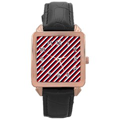 Diagonal Patriot Stripes Rose Gold Leather Watch
