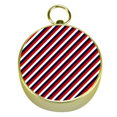 Diagonal Patriot Stripes Gold Compass