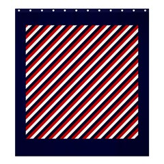 Diagonal Patriot Stripes Shower Curtain 66  x 72  (Large)