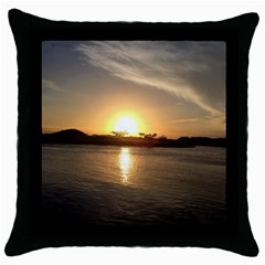 Sunset Beach Black Throw Pillow Case