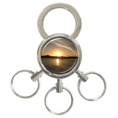 sunset beach 3-Ring Key Chain
