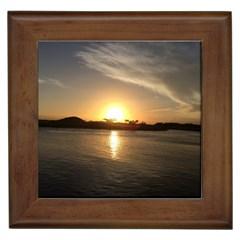 sunset beach Framed Ceramic Tile