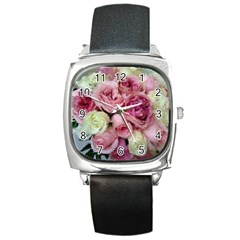 Tapestry Wedding Bouquet Square Metal Watch