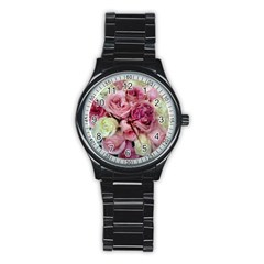 Tapestry Wedding Bouquet Men s Stainless Steel Round Dial Analog Watch
