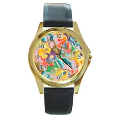 MARBLE Round Leather Watch (Gold Rim)