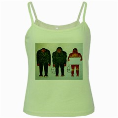 3 Bigfoot, H, A, S, On White, Green Spaghetti Tank