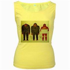3 Bigfoot, H, A, S, On White, Women s Tank Top (Yellow)