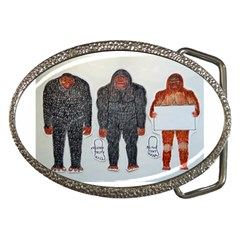 3 Bigfoot, H, A, S, On White, Belt Buckle (oval)